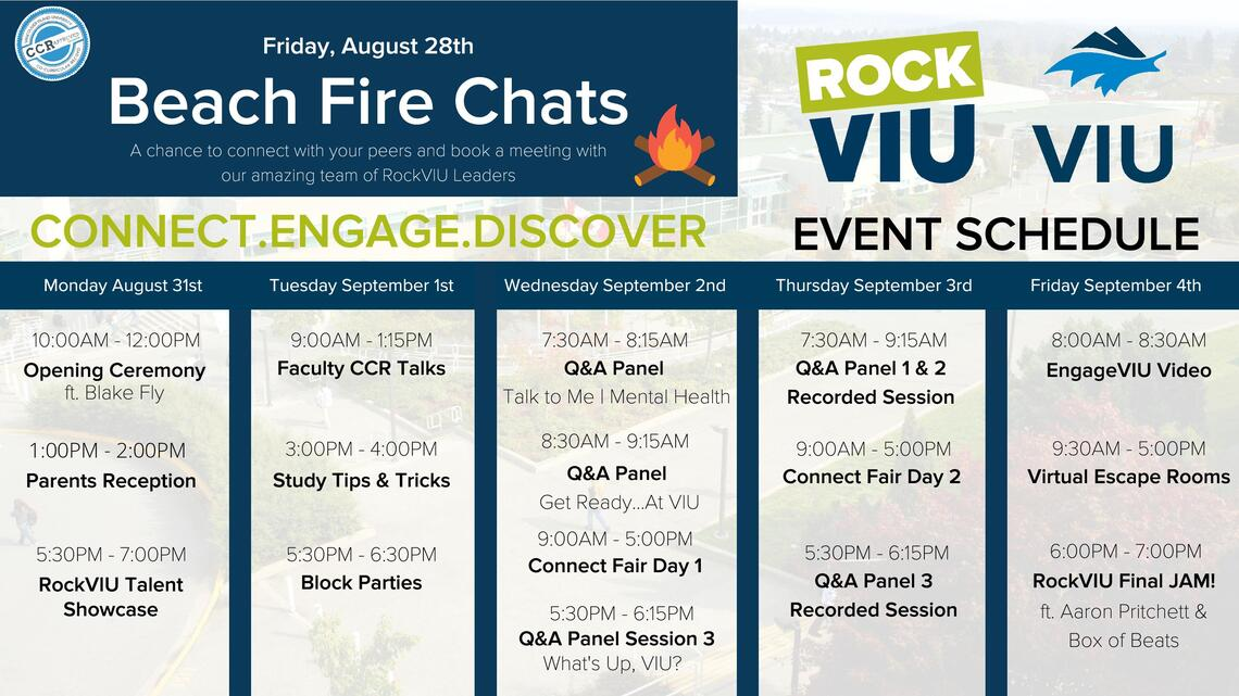 RockVIU 2020 Schedule of Events